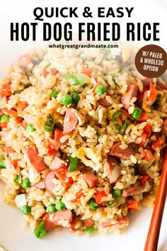 This hot dog fried is a delicious and easy weeknight meal that comes together in less than 30 minutes! A great budget-friendly meal and you can easily make it paleo and Whole30 with simple swaps. #glutenfree #paleo #whole30 #friedrice Healthy Dessert Recipes, Lunch Recipes, Easy Dinner Recipes, Real Food Recipes, Free Recipes, Dinner Ideas, Gluten Free Hot Dogs, Paleo Cauliflower Fried Rice, Cooking White Rice