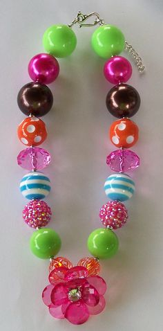 Hot Pink Flower Power Girls Chunky Big Beads Necklace, Aqua, Orange, Brown, Girls Necklace, Girls Chunky Necklace