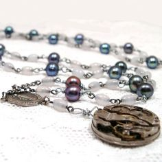 Steampunk Necklace Watch Movement Rosary Beads by AmongTheRuins, $53.00