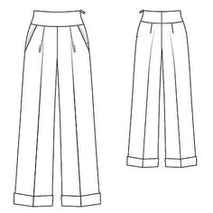 Burda - High waisted trousers with wide legs, rolled cuffs and a side zip. Marlene Jeans, Marlene Hose, Flat Drawings, Flat Sketches, Wide Jeans, Wide Trousers, Burda Patterns, Sewing Patterns Free, Jean À Revers