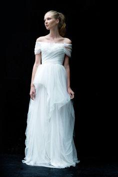 Wedding Dress: Love Yu - www.stylemepretty.com/lookbook/designer/love-yu  View entire slideshow: Off the Shoulder Dresses on http://www.stylemepretty.com/collection/723/
