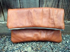 DIY leather clutch from an old coat tutorial