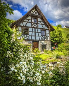 Swiss Chalet in the Garden Poster by Debra and Dave Vanderlaan Swiss House, Swiss Cottage, Victorian Cottage, Cottage House Plans, Cottage Homes, Victorian House Interiors, English Country Cottages, Storybook Homes, European Garden