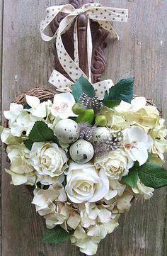 white rose heart door hanging