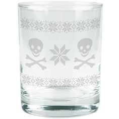 Skull & Crossbones Ugly Christmas Sweater Etched Glass Tumbler | OldGlory.com