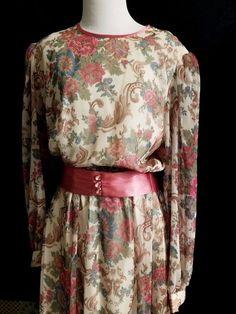 Lovely Vintage 80s Floral Belted Long Sleeve Dress Roses Mid Calf Elastic Waist…