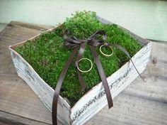 Birch Bark and Moss Ring bearer's pillow