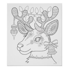 Christmas Reindeer Coloring Poster - Colorable Art - black and white gifts unique special bw style Coloring Book Pages, Printable Coloring Pages, Christmas Colors, Christmas Crafts, Whimsical Christmas, Christmas Lights, Christmas Coloring Sheets, Printable Christmas Coloring Pages, Diy Y Manualidades