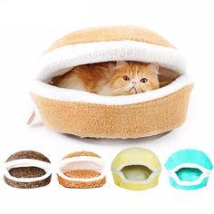 Burger Bun Shaped Warm Cat Bed House