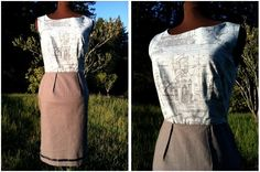 The Drafter's Dress. Size 6. Vintage Grey/Brown Fabric with Cotton Sky Blue Fabric with French Blueprint Design.. $240.00, via Etsy.