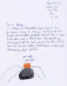 Jack Trelawny school author visit to Thorpe Hall Lower School SS1 3RD  (UK). The school sent the after-visit work the children had done in class. Letter and artwork from Angus Connell