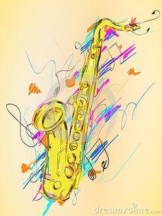 Art de vecteur de peinture de saxophone