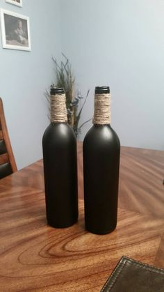 This chalk painted wine bottle with jute twine accent would be a gorgeous addition to your home decor! You can create your own message or