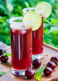 The Cherry Mojito - a favorite summer cocktail! It's slushy and super yummy!