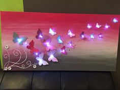 Toile lumineuse Envolée Papillon Fushia