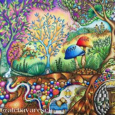 Johanna Basford | Alexandre Bavaresco Enchanted Forest Book, Enchanted Forest Coloring Book, Johanna Basford Books, Johanna Basford Coloring Book, Coloring Book Art, Colouring Pages, Adult Coloring, Abstract Drawings, Colorful Drawings
