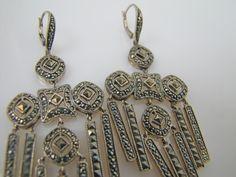 Judith Jack Sterling Silver Marcasite Earrings. Art Deco Style Large 925 Silver Chandelier Statement Earrings. Art Deco Reproduction Jewelry by MercyMadge on Etsy