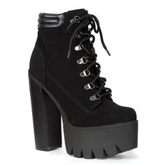 Black Lace-up Platform Boots @ SinisterSoles.com