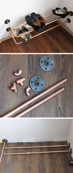 Check out this easy idea on how to make a #DIY copper pipe shoe rack #homedecor #budget #project @istandarddesign