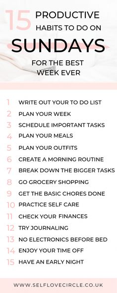 health habits 15 Productive Habits To Do On Sunday - Self Love Circle . 15 produktive Gewohnheiten am Sonntag - Self Love Circle Good Habits, Healthy Habits, 7 Habits, Healthy Food, Best Week Ever, Vie Motivation, Sunday Motivation, Productive Things To Do, Productive Day
