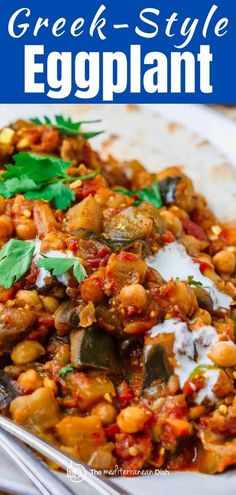 Oh my word! This eggplant recipe is melt-in-your mouth delicious. A great vegan stew with chickpeas and tomatoes, and you'll love the warm flavors. Vegan Eggplant Recipes, Eggplant Dishes, Vegetarian Recipes, Healthy Recipes, Easy Mediterranean Diet Recipes, Mediterranean Dishes, Vegetable Dishes, Vegetable Recipes, Whole Food Recipes