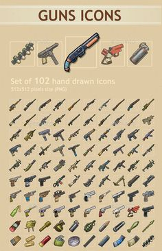 Buy Guns Icons by REXARD on GraphicRiver. A set of 102 hand drawn guns icons. Weapon Concept Art, Game Concept Art, 2d Game Art, Pixel Art Games, Gun Art, Futuristic Art, Desenho Tattoo, Hippie Art, Game Item
