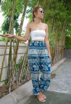 High Waist Thai Elephant Pants Turquoise Paisley Design