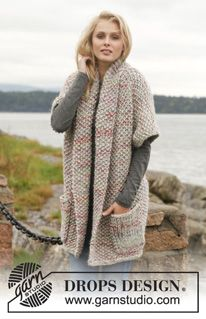 Knitted DROPS jacket in seed st in ''Andes'' and ''Fabel''. Size: S - XXXL. ~ DROPS Design free pattern