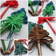 InHaken: Kerstboom potloden, #haken, gratis patroon, Nederlands, Kerstmis, haakpatroon