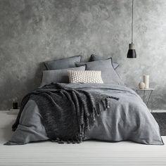Shop Dark Gray Duvet Cover by AanyaLinen. This Dark Gray Duvet Cover helps to make your Ambiance so wonderful & colorful. Master Bedroom Design, Home Decor Bedroom, Modern Bedroom, Bedroom Wall, Bedroom Ideas, Bedroom Designs, Modern Bedding, Bedroom Furniture, Bed Linen Design