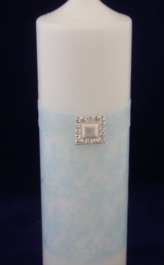 Aqua damask candle with ribbon and pearl square gem by TheCandleandCardCo on Etsy