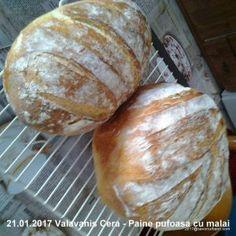 Paine pufoasa cu malai - reteta de paine aurie cu mamaliga coapta in oala | Savori Urbane Bakery, Sweets, Cookies, Food, Breads, Millefeuille Recipe, Recipes, Home, Bread Recipes