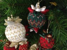 Smocked Christmas balls by Nola Erasmus