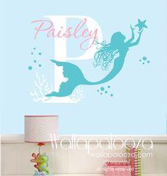 Mermaid Wall Decal Nursery Art Custom Name Decor