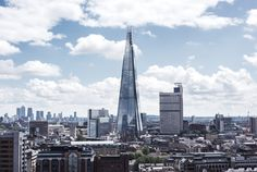 The Shard and Canary Wharf in the distance The Shard, London Skyline, Moonlight, San Francisco Skyline, Travel Photography, Peaches, Distance, Modern, June