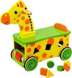 Żyrafa Pchacz Edukacyjny Jeździk Aktywności Drewno