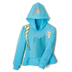 Inspired by Elsa's dress, this cute hoodie is a costume perfect for every day! There's even a fun braid design that lets her cop Elsa's hairdo. Cotton/ polyester. Machine wash and dry. Imported.In the event of unforeseen demand, please allow 2-4 extra weeks for delivery.©Disney