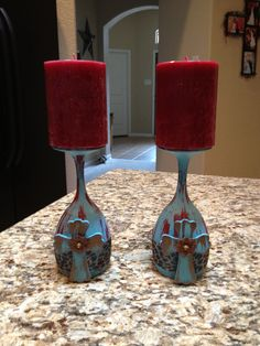 Wine glasses DIY candle holders!