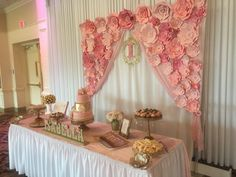 pink and gold baby shower décor dessert table