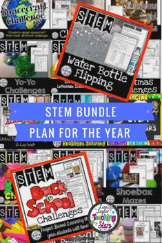 STEM Challenges Bundle includes over 50 Challenges, experiments, and activities your students will love all year long! These activities can also be used for After School Programs, Summer Programs, Clubs, Maker Spaces, or at home. Your students will be engaged in yearlong STEM Activities. One of the favorites is Water Bottle Flipping the latest trend! Even though it might drive you crazy, it will engage your students in learning about collecting data, fractions, measurement, and opinion writing.