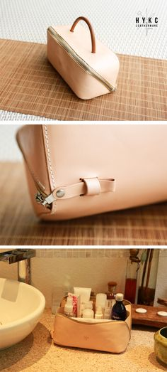 Expandable Vegetable Tanned Leather Toiltery Bag from hykc leatherware