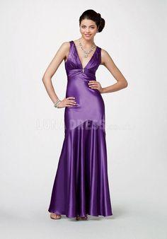 Junoesque Elastic Silk Like Satin V Neck A line Floor Length Prom Gown