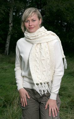Luxury Hand-Knitted Aran Scarf by Scotweb Tartan Mill