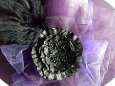 Paper Mache Witch Hat with Feathers by posiesandpoppies on Etsy, $20.00