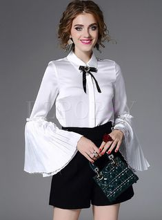 Shop Sweet Bowknot Flare Sleeve Blouse at EZPOPSY. Sexy Blouse, Blouse And Skirt, Bow Blouse, Nice Dresses, Casual Dresses, Fashion Dresses, Blouse Styles, Blouse Designs, Satin Blouses