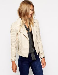 Image 1 ofASOS Biker With Structured Shoulder And Multi Stitch