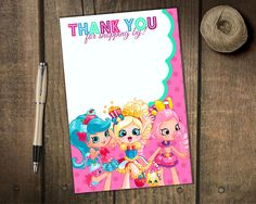 Shopkins Shoppies Inspired Thank You Card (Instant Download)