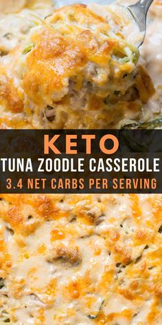 Lower Excess Fat Rooster Recipes That Basically Prime You Will Love This Keto Tuna Zoodle Casserole Packed With Zucchini Noodles, A Creamy Cheese Sauce And Chunks Of Tuna. This Low Carb Comfort Food Is Only Net Carbs And Will Become Your New Favorite # Zoodle Casserole, Keto Casserole, Easy Casserole Recipes, Tuna Casserole Healthy, Low Carb Breakfast Casserole, Low Carb Keto, Low Carb Recipes, Diet Recipes, Healthy Recipes