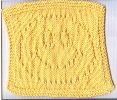 Knit A Little Store: Lacy Smiley Face, Free knitting pattern Owl Knitting Pattern, Knitted Dishcloth Patterns Free, Knitted Washcloths, Crochet Dishcloths, Easy Knitting Patterns, Knitting Squares, Chrochet, Knitting Ideas, Crochet Pattern
