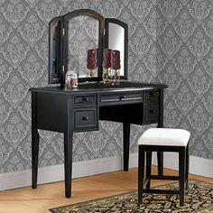 3-Piece Vanity, Mirror and Bench Set, Antique Black - Walmart.com